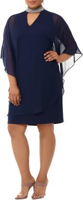 Xscape Evenings Embellished Collar Chiffon Overlay Shift Dress
