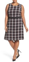 Vince Camuto Harbor Plaid Fit & Flare Dress (Plus Size)