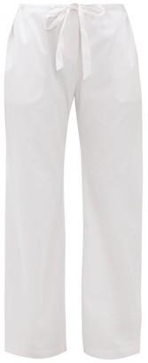 Rossell England - Tie-waist Cotton-satin Pyjama Trousers - Womens - Light Pink