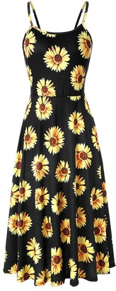 Xinqiao Womens Floral Dress Backless Strappy Summer Looes Beach Swing Sundress (Black Sunflowers XX-Large)