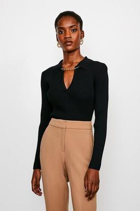 Karen Millen Long Sleeve Knitted Rib Chain Collared Top