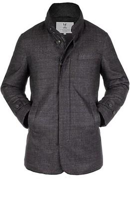 Norwegian Wool Slim-Fit Textured Wool Silk Hooded Stretch Car Coat