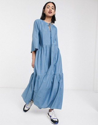 Selected chambray tiered maxi dress in blue