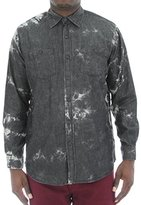 Akademiks Men's Shadow Bleach Splatter Denim Shirt