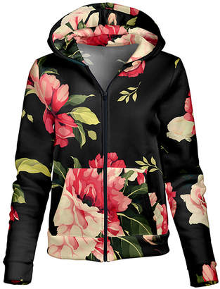Lily Women's Sweatshirts and Hoodies BLK - Black & Rose Floral Pocket Zip-Up Hoodie - Women & Plus