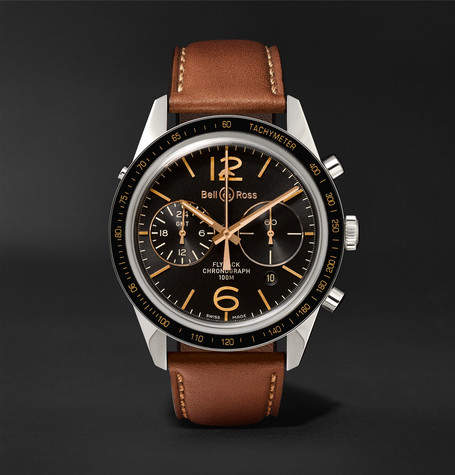 Bell & Ross Br 126 Sport Heritage Gmt And Flyback Chronograph Steel And Leather Watch