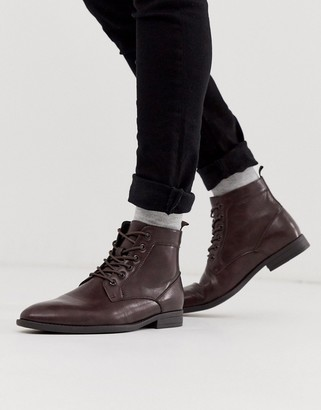 Asos Design DESIGN lace up boots in brown faux leather