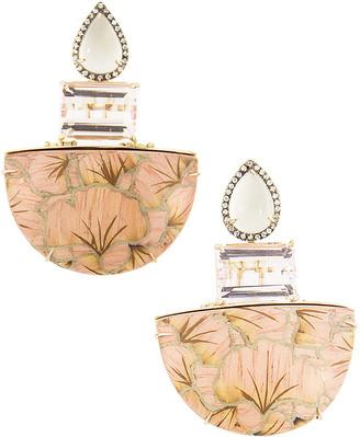 Silvia Furmanovich 18k Pink Gold Marquetry Ginkgo Leaf Drop Earrings