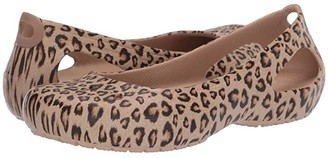 Crocs Kadee Printed Flat (Leopard/Gold) Women's Shoes