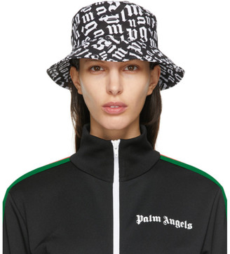 Palm Angels Black and White Monogram Bucket Hat