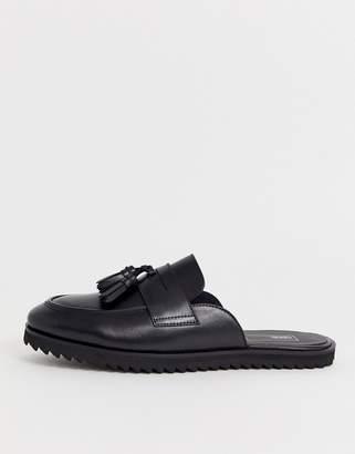 Asos Design DESIGN backless mule loafer in black leather with tassel
