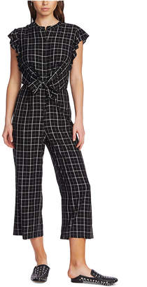 1 STATE 1.state Checker Printed Flutter-Sleeve Jumpsuit