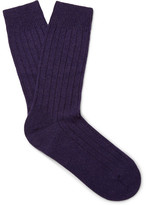 Pantherella Waddington Ribbed Cashmere-blend Socks - Purple