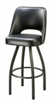 "Regal Swivel Bar & Counter Stool Seat Height: Bar Stool (32"" Seat Height), Finish: Chrome, Upholstery: Black"