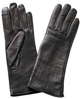 Carolina Amato Touch Tech Shorty Croc-embossed Leather Gloves.