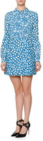 Valentino Long-Sleeve Star-Print Shirtdress, Blue Star