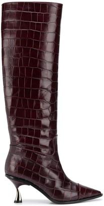 Casadei Crocodile-Effect Knee-High Boots