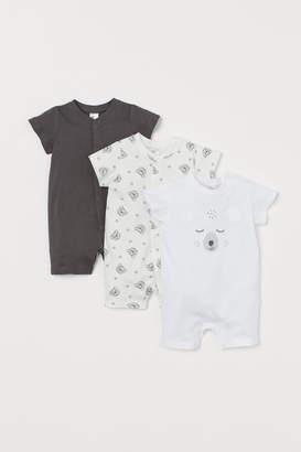 H&M 3-pack Cotton Jumpsuits - Gray