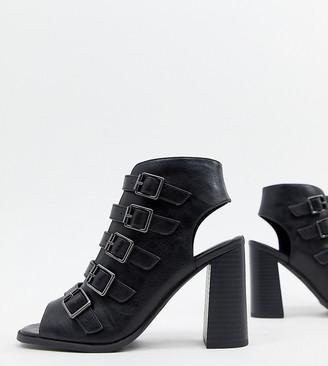 New Look Buckle Block Heeled Sandal-Black