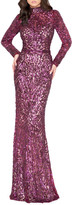 Mac Duggal 6-Week Shipping Lead Time Sequin High-Neck Long-Sleeve Column Gown