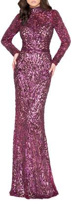 Mac Duggal Sequin High-Neck Long-Sleeve Column Gown