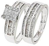 My Trio Rings 1 1/10 Carat T.W. Round, Princess Cut Diamond Ladies' Bridal Wedding Ring Set 14K White Gold - Size 9.5
