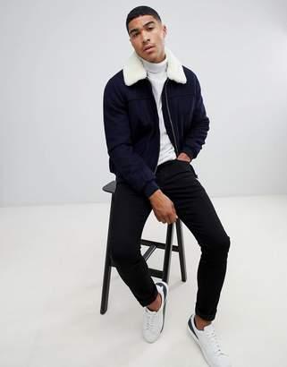 Asos Design DESIGN wool mix harrington jacket with borg collar in navy