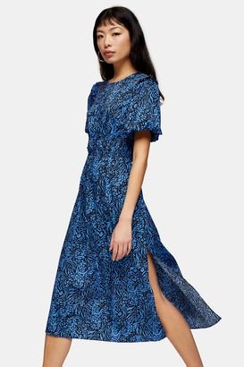 Topshop Womens Petite Blue Zebra Print Bubble Sleeve Midi Dress - Blue