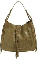Sole Society 'Vail' Braided Trim Faux Suede Shoulder Bag - Black