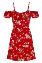 Quiz Red Floral Print Frill Bardot Tea Dress