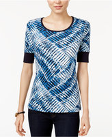 Tommy Hilfiger Printed Elbow-Sleeve Top, Only at Macy's