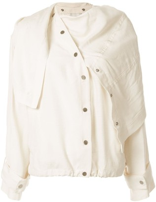 3.1 Phillip Lim Sateen Jacket with Removable Scarf