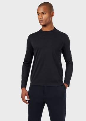 Emporio Armani Cotton Sweater With Jacquard Logo