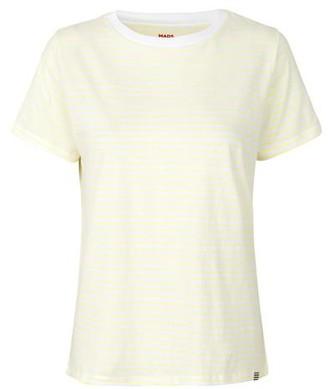Mads Norgaard Organic Favorite Stripe Trimmy Soft Yellow White T Shirt - XS