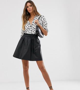 Vila faux leather skater skirt-Black