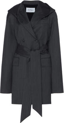 Salvatore Ferragamo Hooded Double-Breasted Pinstriped Wool Jacket