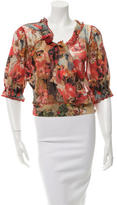 Jean Paul Gaultier Floral Three-Quarter Sleeve Top