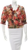 Jean Paul Gaultier Floral Three-Quarter Sleeve Top