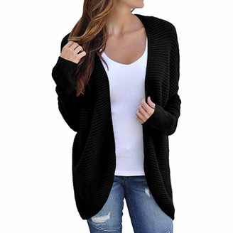 LEXUPE Women Autumn Winter Jumpers Warm Comfortable Cardigans Casual Fashion Sweatshirts Ladies Batwing Sleeve Solid Knitted Bandage Sweater Coat Tops Blouse(Black L)