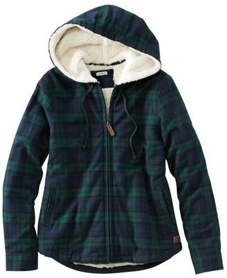 L.L. Bean L.L.Bean Women's Scotch Plaid Flannel Shirt, Sherpa-Lined Zip Hoodie