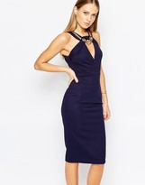 TFNC Midi Body-Conscious Dress with Chain Detail