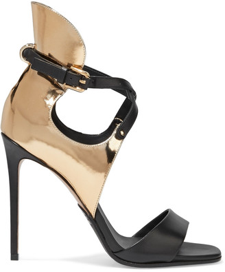 Balmain Acacia Smooth And Mirrored-leather Sandals