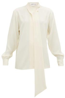 Victoria Beckham Neck-tie Fluid Crepe Shirt - Ivory