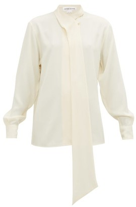 Victoria Beckham Neck-tie Fluid Crepe Shirt - Womens - Ivory