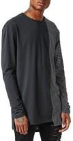 Topman Men's Aaa Collection Spliced Longline T-Shirt