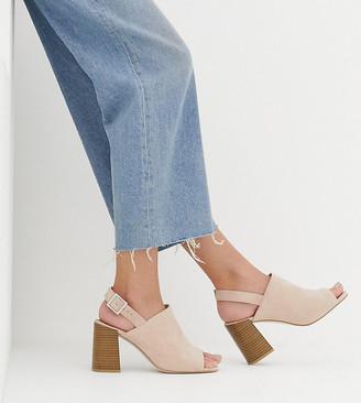 Asos DESIGN Wide Fit Wrap minimal slingback block heeled sandals