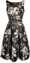 Eliza J Belted Metallic Jacquard Party Dress