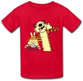 Hoxsin 6-16 years old tee Cool O Neck Calvin And Hobbes Child Boys And Girls T Shirts US Size S