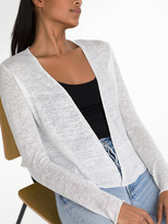 White + Warren Linen Cropped Cardigan