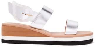 Ancient Greek Sandals Clio Rainbow Wedge Heel Leather Sandals - Womens - Silver